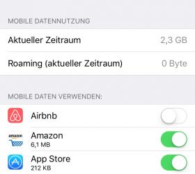 iOS 9.3 Einstellungen > Mobile Daten
