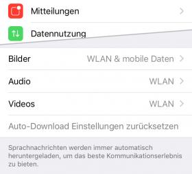 iOS 9.3 WhatsApp > Einstellungen > Datennutzung